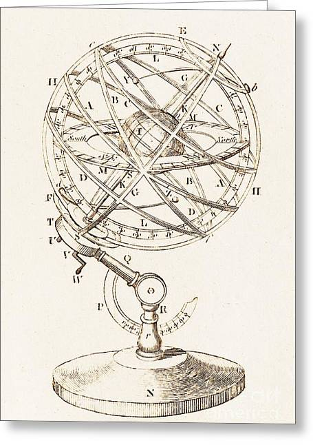 Armillary Greeting Cards - Armillary Sphere Illustration Greeting Card by David Parker