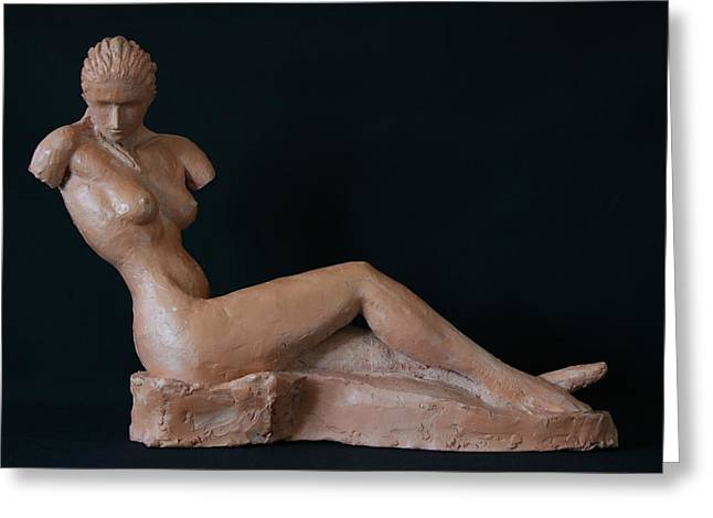 Seated Sculptures Greeting Cards - Armless- profil - study Greeting Card by Flow Fitzgerald