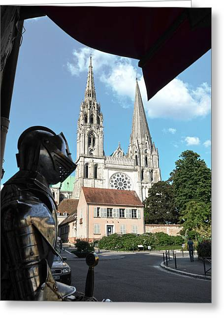 Glass Facade Greeting Cards - Armor and Chartres Cathedral Greeting Card by RicardMN Photography
