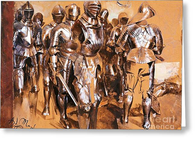 Menzel Greeting Cards - Armor Chamber Fantasy Greeting Card by Pg Reproductions