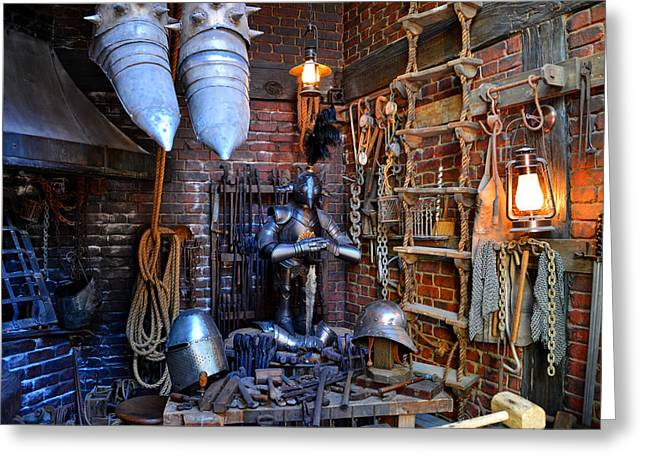 Armory Greeting Cards - Armory shop Diagon Alley Greeting Card by David Lee Thompson
