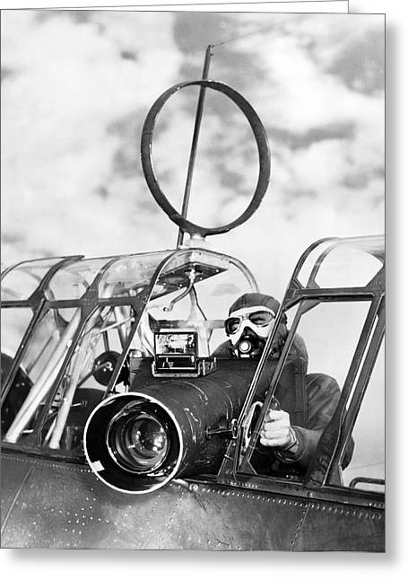 United States Army Air Forces Greeting Cards - Army Air Force Camera Man Greeting Card by Underwood Archives