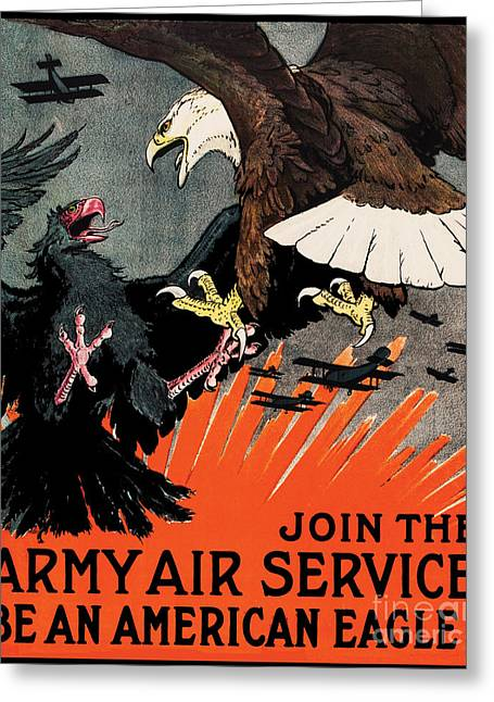 Wwi Greeting Cards - Army Air Force Recruiting WWI Greeting Card by The Realm  Endless