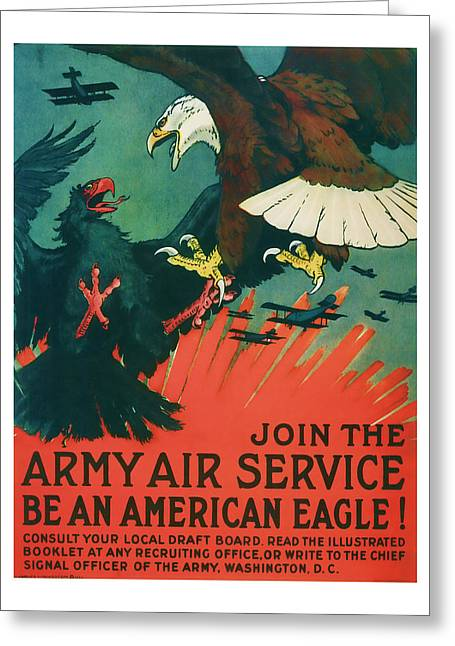 Patrotic Greeting Cards - Army Air Service - Vintage WW1 Art Greeting Card by Presented By American Classic Art