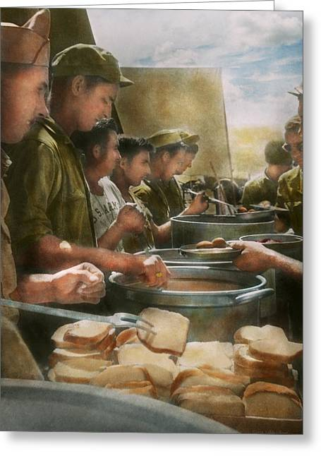 Chow Greeting Cards - Army - Another potato please Greeting Card by Mike Savad