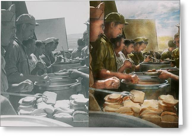 After World Greeting Cards - Army - Another potato please - Side by Side Greeting Card by Mike Savad