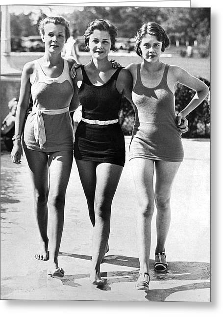 Army Bathing Suit Trio Greeting Card by Underwood Archives