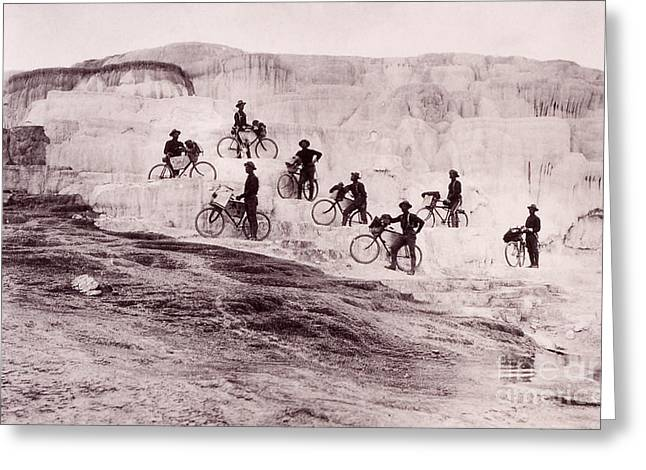 Mammoth Terrace Greeting Cards - Army Bicyclists Mammoth Hot Springs Greeting Card by NPS Photo
