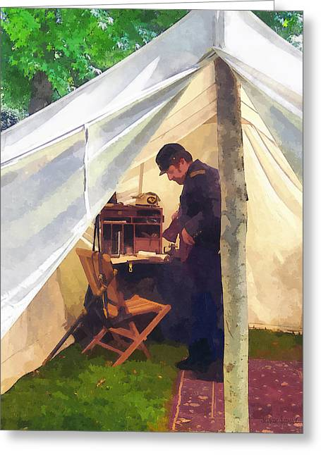 Desk Greeting Cards - Army - Civil War Officers Tent Greeting Card by Susan Savad