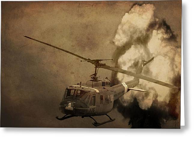 Strategy Greeting Cards - Army Helicopter Explosion Greeting Card by Dan Sproul
