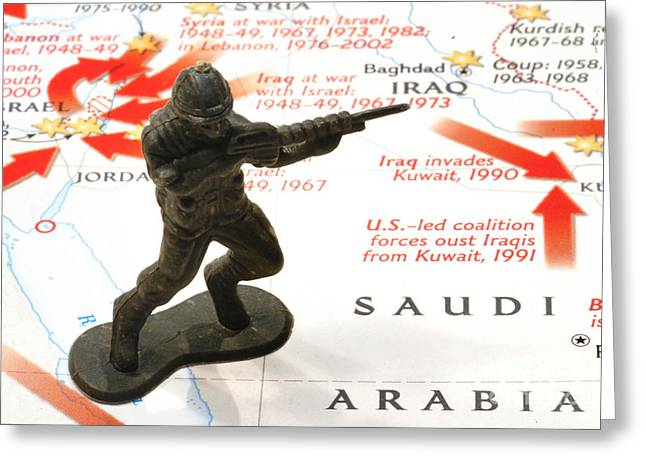 Iraq Conflict Greeting Cards - Army Man standing on Middle East Conflicts Map Greeting Card by Amy Cicconi