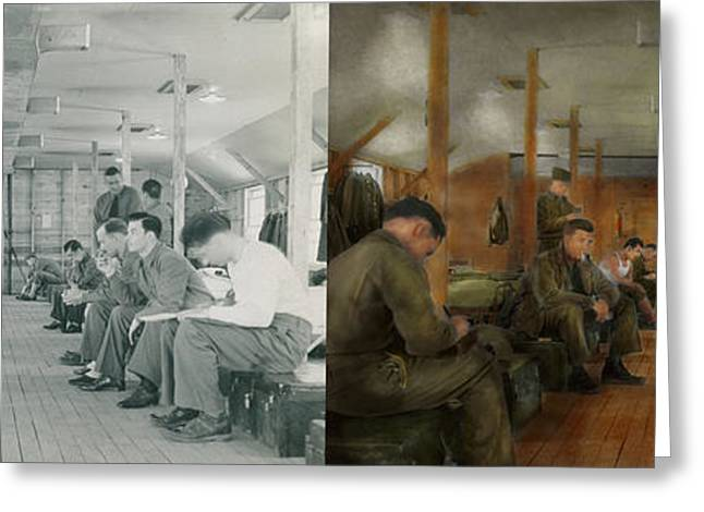 After World Greeting Cards - Army - Relaxing in the barracks - Side by Side Greeting Card by Mike Savad