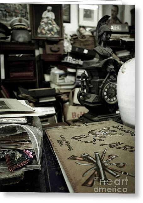 Market Greeting Cards - Army Scrapbook in an antique shop Greeting Card by Amy Cicconi