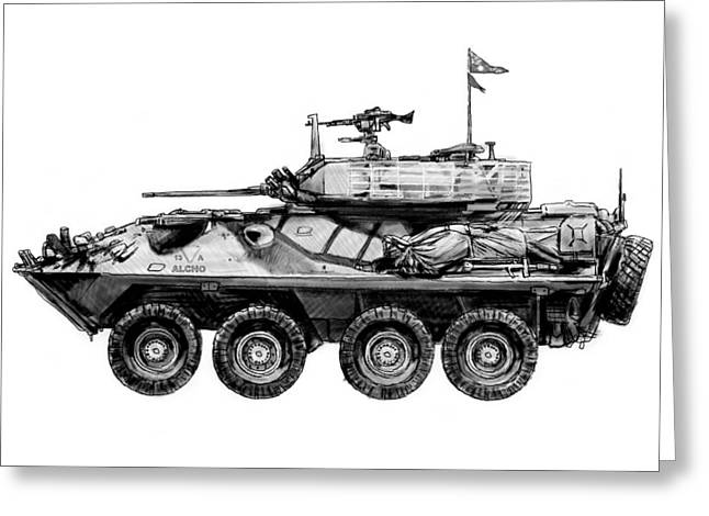 Army Tank Greeting Cards - Army tank drawing art poster Greeting Card by Kim Wang