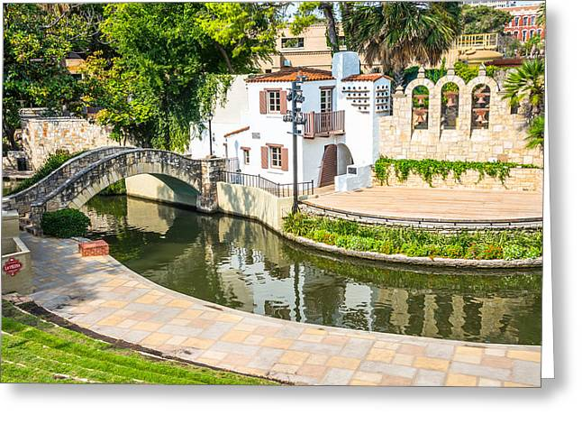 Open Air Theater Greeting Cards - Arneson River Theater River Walk San Antonio Texas Greeting Card by Denise Potrzeba Lett