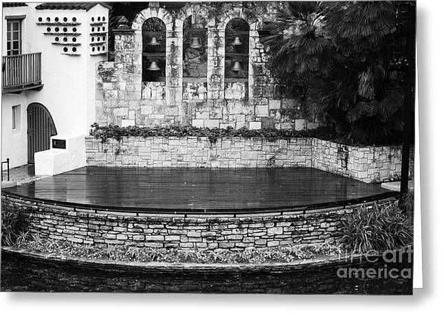 Outdoor Theater Greeting Cards - Arneson River Theater Stage on the Riverwalk La Villita San Antonio Texas Black and White Greeting Card by Shawn O