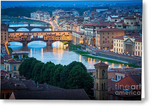 Tuscan Sunset Greeting Cards - Arno Greeting Card by Inge Johnsson