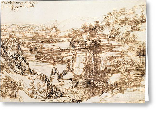 Italian Landscapes Drawings Greeting Cards - Arno Landscape Greeting Card by Leonardo da Vinci