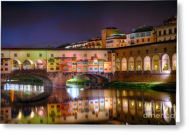 Uffizi Greeting Cards - Arno River Night Reflections at Ponte Vecchio Greeting Card by George Oze