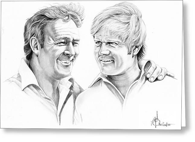Nicklaus Drawings Greeting Cards - Arnold Palmer-Jack Nicklaus Greeting Card by Murphy Elliott