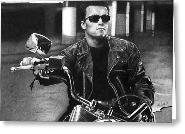 The Terminator Greeting Cards - Arnold Schwarzenegger As The Terminator Greeting Card by William Leung
