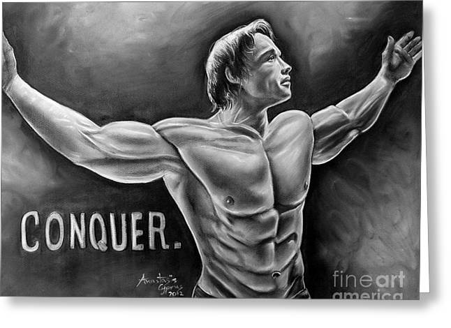 The Terminator Greeting Cards - Arnold Schwarzenegger / Conquer Greeting Card by Anastasis  Anastasi