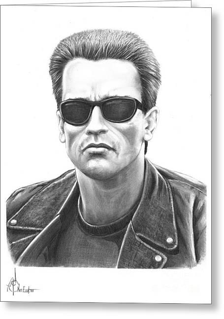 Pencil Drawing Greeting Cards - Arnold Schwarzenegger Terminator Greeting Card by Murphy Elliott
