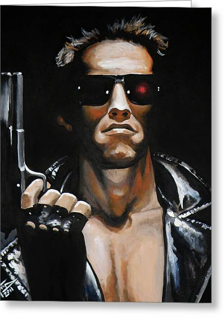 Carlton Greeting Cards - Arnold Schwarzenegger - Terminator Greeting Card by Tom Carlton