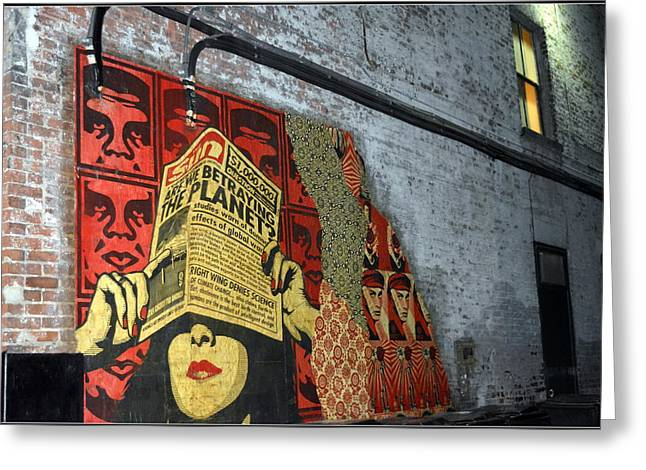 Shepard Fairey Greeting Cards - Arnolds and Graffiti Andre the Giant Has a Posse Greeting Card by Kathy Barney