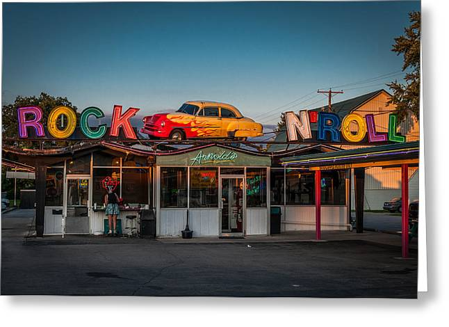 Waitress Greeting Cards - Arnolds Drive In Greeting Card by Gene Sherrill