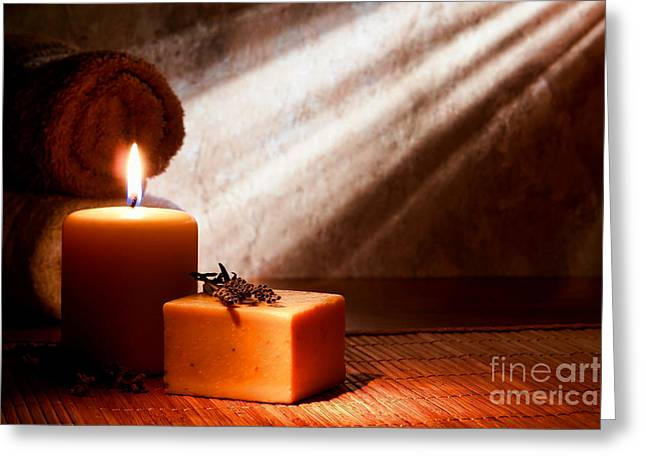 Treatment Greeting Cards - Aromatherapy Bath Soap Greeting Card by Olivier Le Queinec