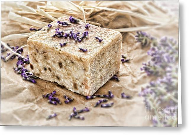Soap Greeting Cards - Aromatherapy Natural Scented Soap and Lavender Greeting Card by Olivier Le Queinec