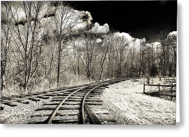Black And White Train Track Prints Greeting Cards - Around the Bend Greeting Card by John Rizzuto