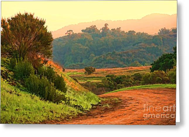 Digital Paint Greeting Cards - Around the Bend Oil Greeting Card by Chuck Kuhn