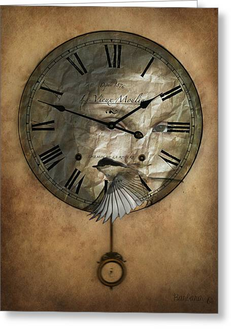 Around The Clock-time Is Flying Greeting Card by Barbara Orenya