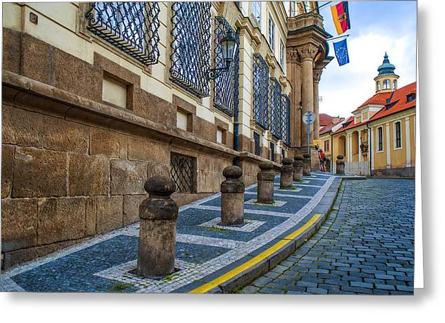 Czech Flag Greeting Cards - Around the Corner. Old Prague Greeting Card by Jenny Rainbow