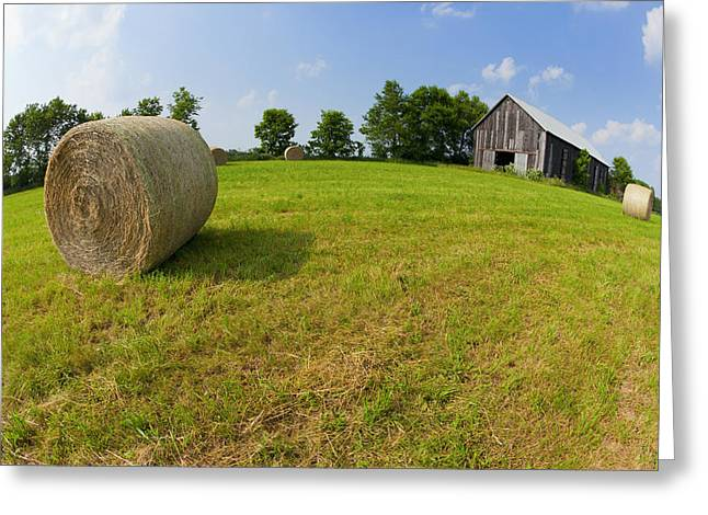 Hay Bales Greeting Cards - ARound the Farm Greeting Card by Alexey Stiop
