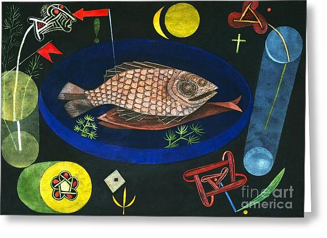 Decorative Fish Greeting Cards - Around The Fish Greeting Card by Pg Reproductions