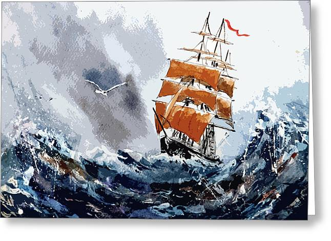 Tall Ships Greeting Cards - Around the horn Greeting Card by Steven Ponsford