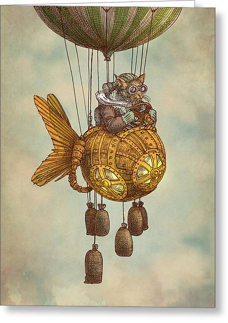 Ballooning Greeting Cards - Around the World in the Goldfish Flyer Greeting Card by Eric Fan
