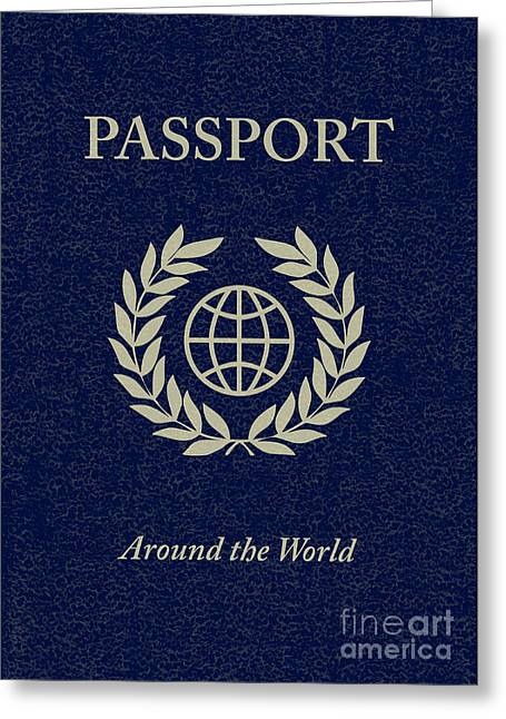 Party Invite Greeting Cards - Around The World Passport Greeting Card by Asyrum Design