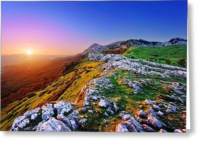 Sunlight Peaking Greeting Cards - arraba fields in Gorbea at sunrise Greeting Card by Mikel Martinez de Osaba