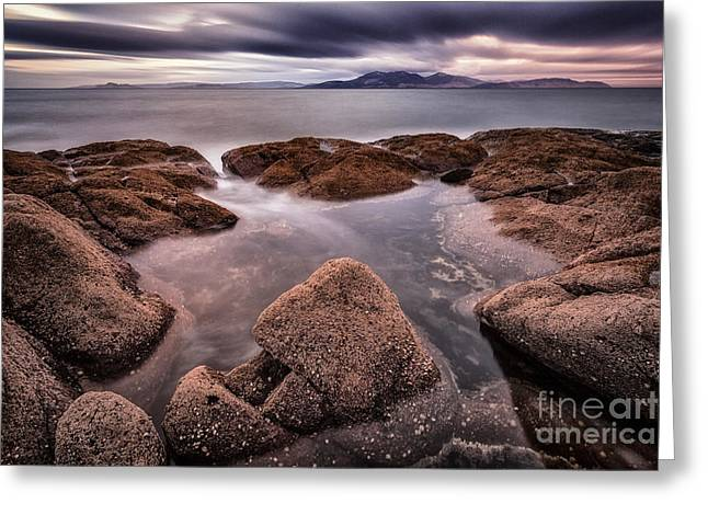 Ayrshire Greeting Cards - Arran at Sunset Greeting Card by John Farnan