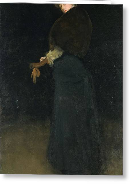 James Abbott Mcneill Whistler Greeting Cards - Arrangement in Black. The Lady in the Yellow Buskin Greeting Card by James Abbott McNeill Whistler