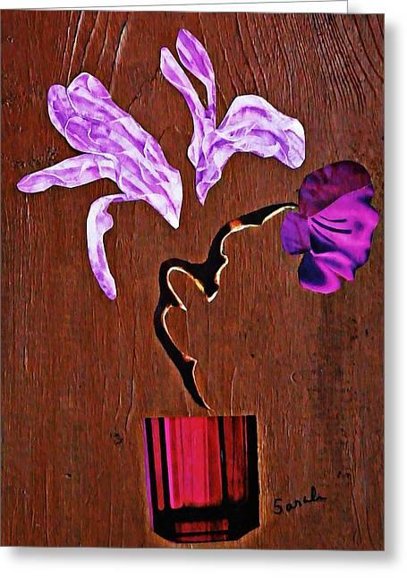 Sarah Loft Greeting Cards - Arrangement in Purple Greeting Card by Sarah Loft