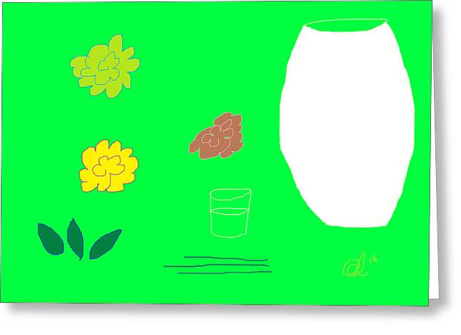 Glass Vase Drawings Greeting Cards - Arranging Flowers Greeting Card by Anita Dale Livaditis