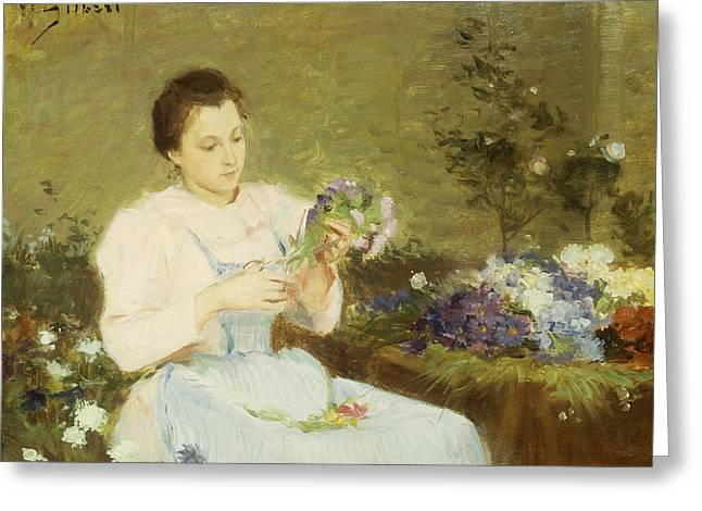 Flower Arranging Greeting Cards - Arranging flowers for a spring bouquet Greeting Card by Victor Gabriel Gilbert