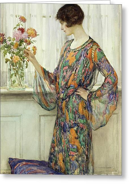 Lace Curtains Greeting Cards - Arranging Flowers Greeting Card by William Henry Margetson
