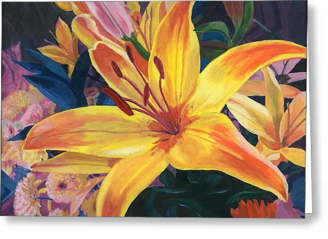 Close Up Paintings Greeting Cards - Arranging Lily Greeting Card by Lynne Reichhart