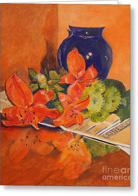 Glass Vase Greeting Cards - Arranging the Lilies Greeting Card by Barbara Moak